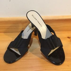 Ellen Tracy Patent Leather Slides Size 7 1/2